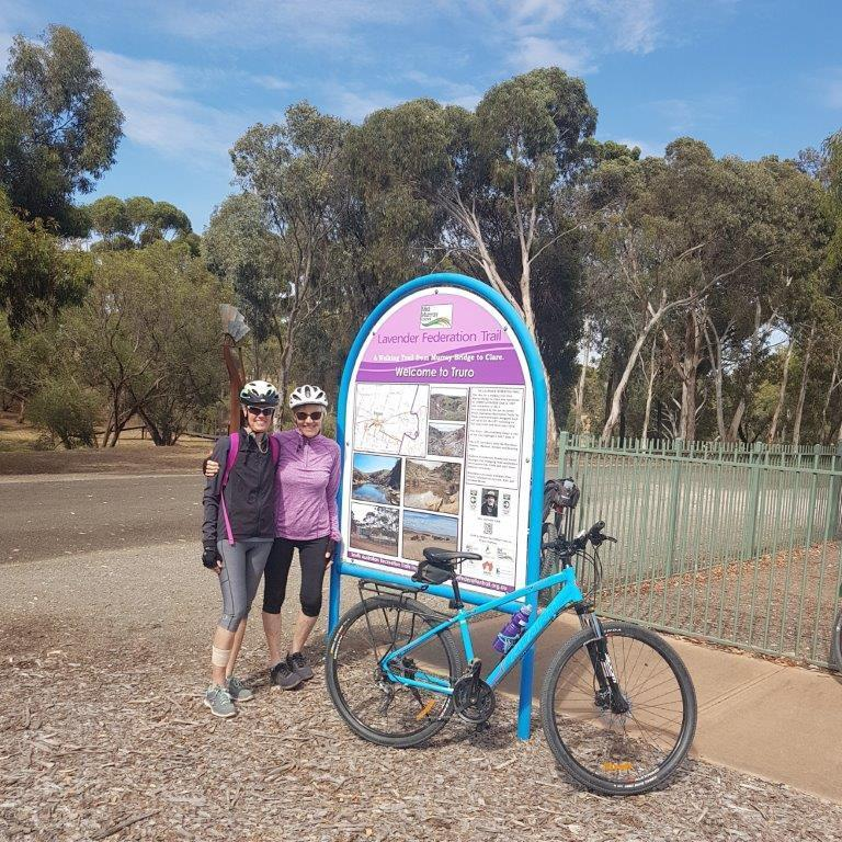 Lavender Cycling Trail (M2C) - Eudunda to Truro - Di and Rhonda at the Lavender Trail sign at Truro