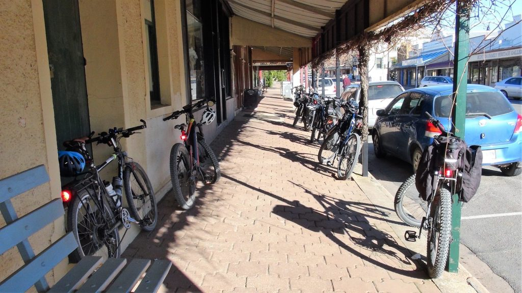 Lavender Cycling Trail (M2C) - Our bikes outside Eudunda Bakery by Peter Herriman