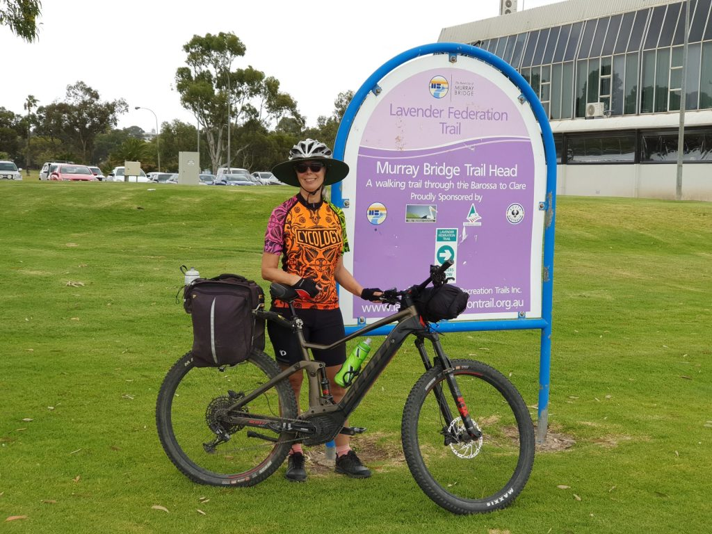 Lavender Cycling Trail (M2C) - Milestones - Helen Dominish - Murray Bridge - completing her 5-day ride North to South